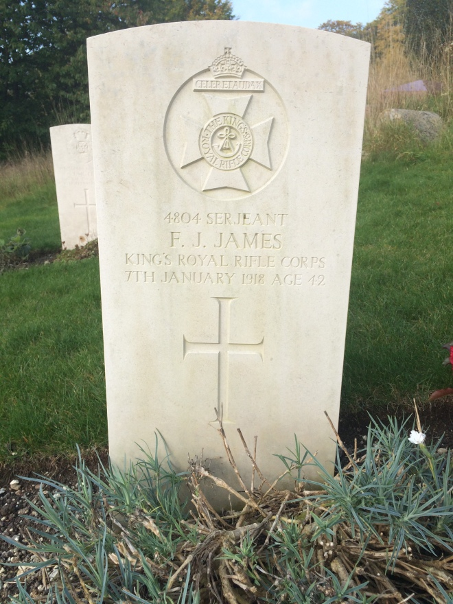 4804 Serjeant F.J.James, Kings Royal Rifle Corps, 7th January 1918, Age 42