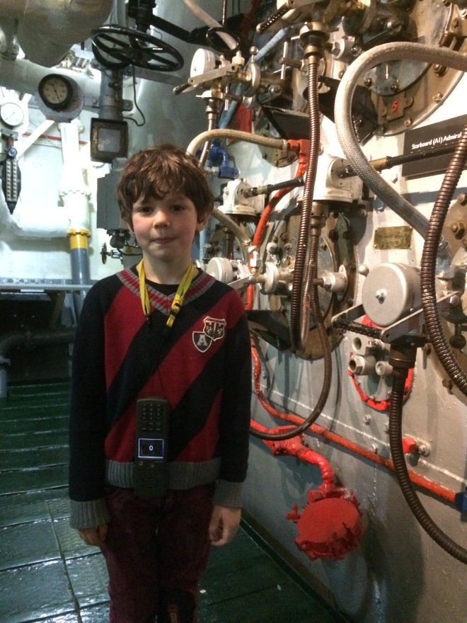 Toby wasn't too keen clambering down the steep narrow ladders into the boiler room, but he did it all the same!